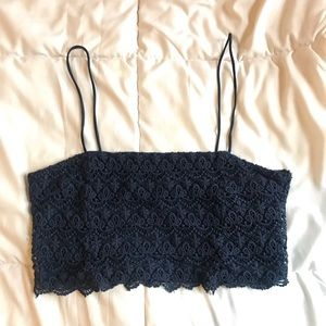 Zara Navy Blue Spaghetti Strap Lace Crop Top